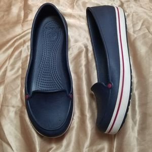 Crocs Blue, White, & Red Slip On Shoes